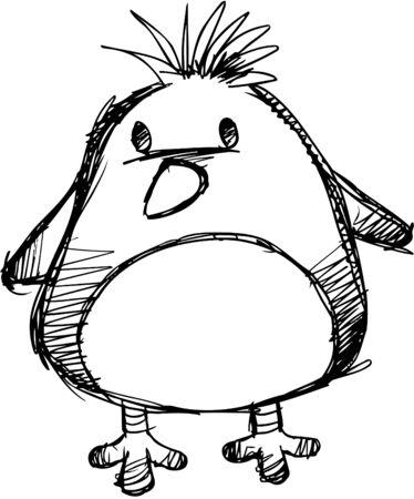 Doodle Sketchy Chick Vector Illustration