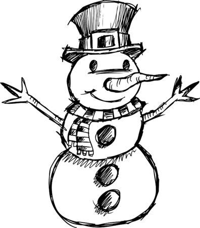 Doodle Kerstmis schetsmatig Snowman vectorillustratie Stock Illustratie