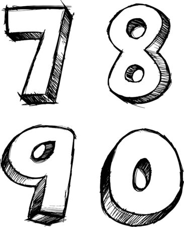 Doodle Sketchy Numbers Vector Illustration Illusztráció