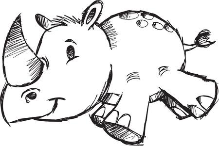 Doodle Sketch Safari Rhino Vector Illustration