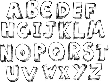 Sketch Doodle Alphabet Letters Vector Illustration