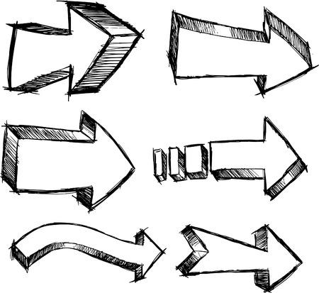 Doodle Sketch pijlen vector illustratie