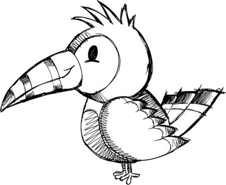 Sketchy Bird Vector Illustration Vector