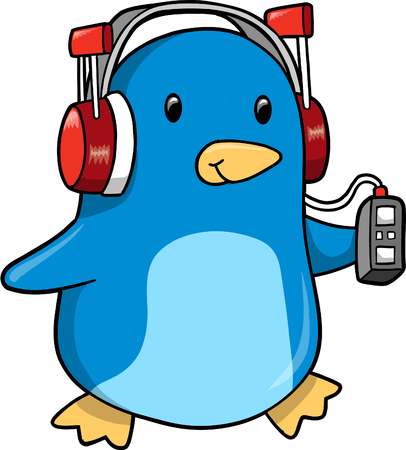 listening music: Cute music Penguin Vector Illustration