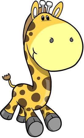 rozkošný: Safari Giraffe Vector Illustration