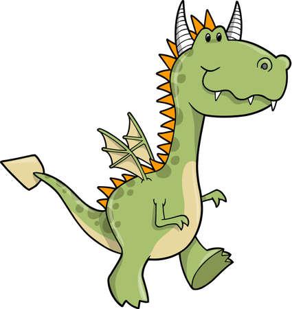 Cute Dragon Vector Illustration Stock Vector - 6574509