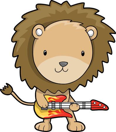 Rock Star Lion Vector Illustration Vector