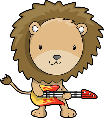 Rock Star Lion Vector Illustration Illusztráció