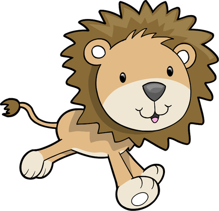 Cute Safari Lion Vector Illustration