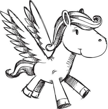 pegaso: Ilustraci�n de vector de Pegasus Doodle incompletos Vectores
