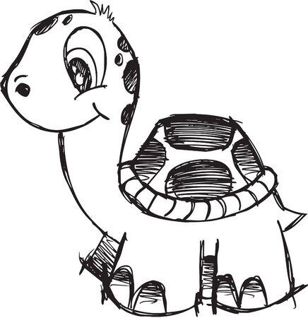 귀여운 낙서 스케치 거북이 벡터 일러스트 레이션 일러스트