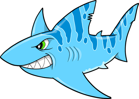 Mean Nasty Blue Tough Shark  Illustration