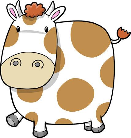 Cute Adorable Dairy Farm Cow  Illustration Vector