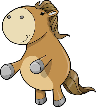 Cute Adorable Farm Pony Horse Illustration Иллюстрация