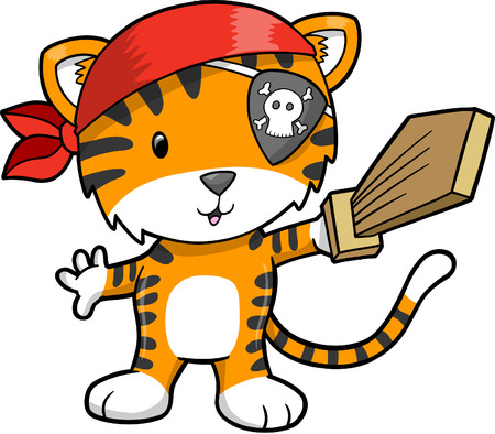 Pirate Tiger illustratie Stock Illustratie