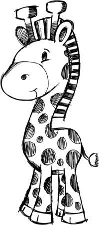 with illustration: Sketchy giraffe  Illustration