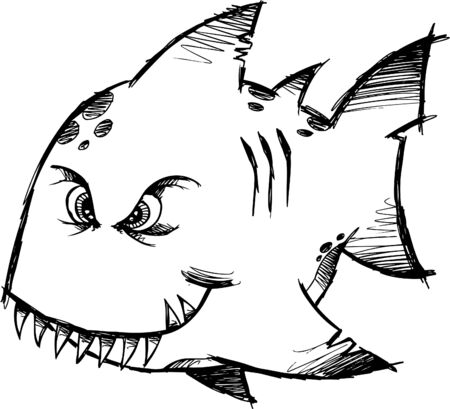 hostile: Sketchy Mean fish Illustration
