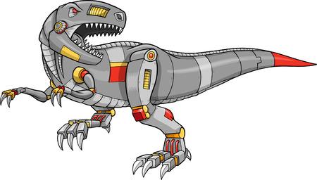 Ilustración de un dinosaurio de T-Rex de robot Ilustración de vector