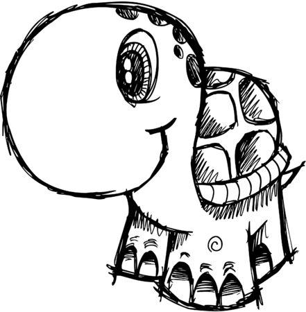 Cute Sketchy turtle Illustration Ilustracja