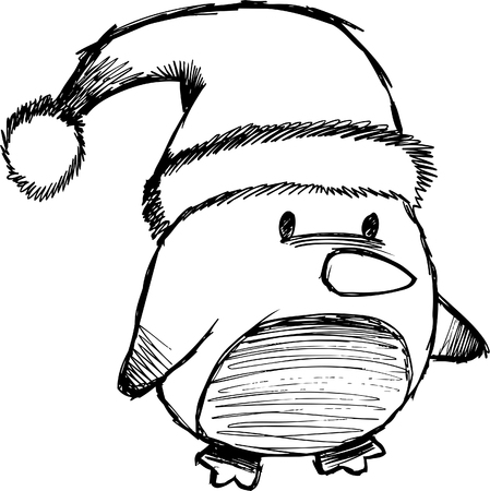 Sketchy Christmas Penguin Illustration Vector