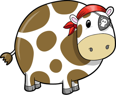Pirate Cow Illustration Vector