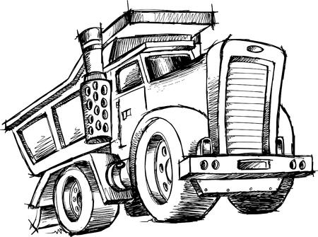 basurero: Sketchy ilustraci�n de Dump Truck  Vectores