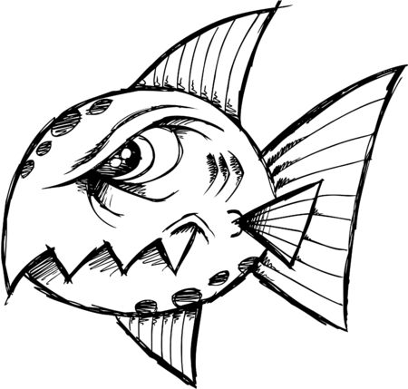 tough: Sketchy Mean fish  Illustration
