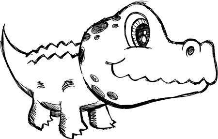 alligators:  Sketchy Alligator Illustration