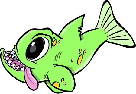 underwater fishes: Big Green Monster Fish Illustration