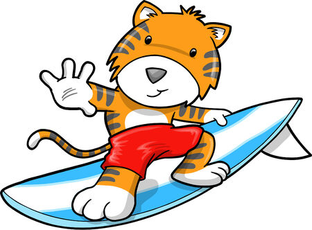 Cute Safari Surfing Tiger Illustration