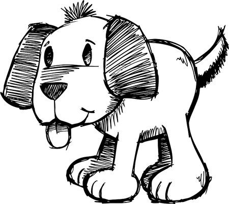 Sketchy Dog Illustration Çizim