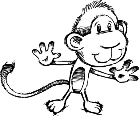 Sketchy Safari Monkey Illustration Vector