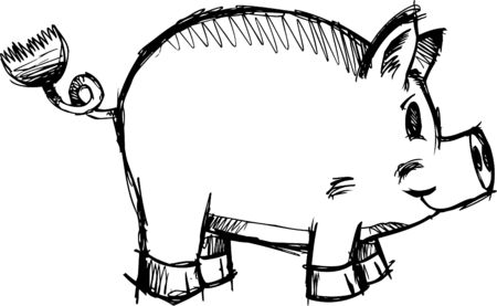 Sketchy Pig Illustration Ilustrace