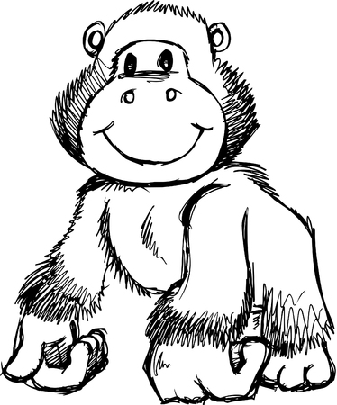 Sketchy Gorilla Illustration 矢量图像