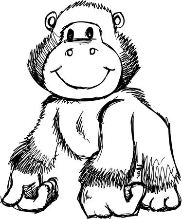 apes: Sketchy Gorilla Illustration Illustration