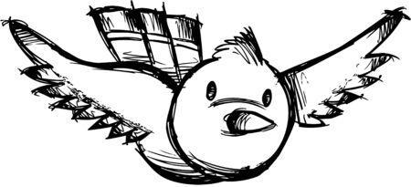 Sketchy Bird Illustration Vector