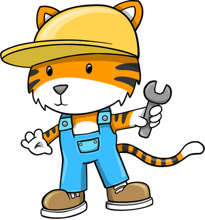 Construction Tiger  Illustration Çizim