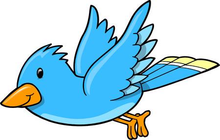 青い鳥の図  イラスト・ベクター素材