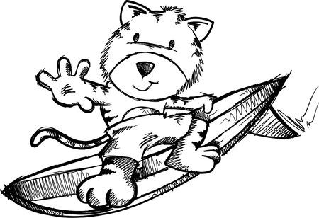 Surfing Tiger Doodle Sketch Illustration Stock Vector - 6767051