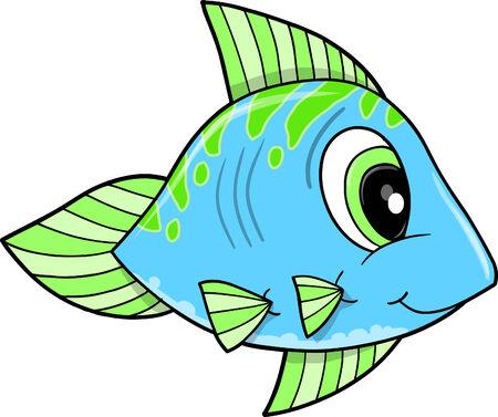 かわいい青い魚落書きスケッチ ベクトル イラスト