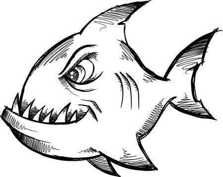 Mean Shark Doodle Sketch  Illustration Illustration