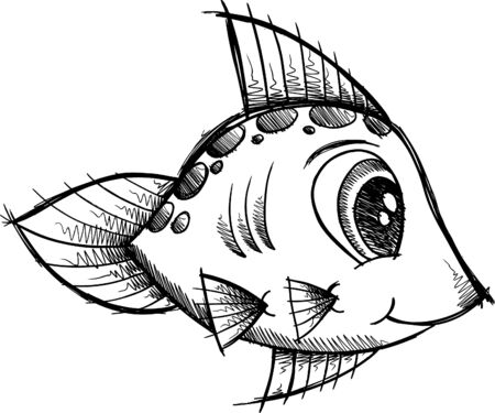 fishes: Cute Fish Doodle Sketch Illustration