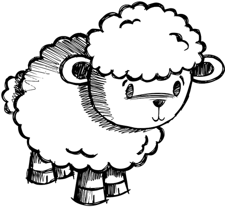 Doodle Sketchy Sheep Lamb