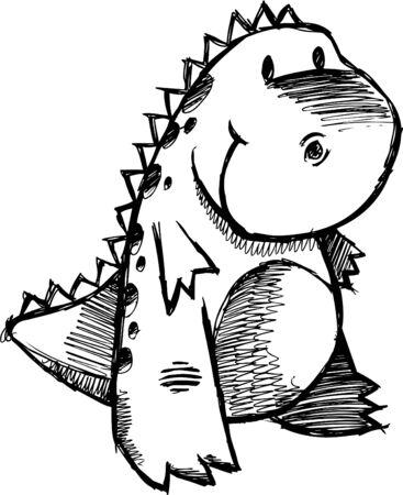 낙서 스케치 공룡
