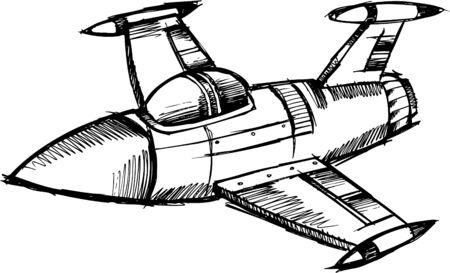 Doodle Sketchy Jet 版權商用圖片 - 6774910