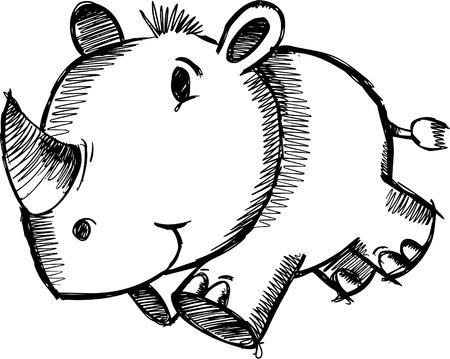 Doodle Sketchy Safari Rhino