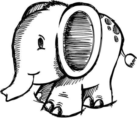 Doodle Schetsmatig Elephant  Stock Illustratie