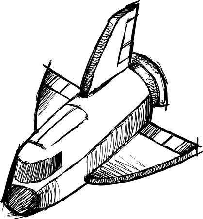 Doodle Sketchy Shuttle Rocket Illustration Vector