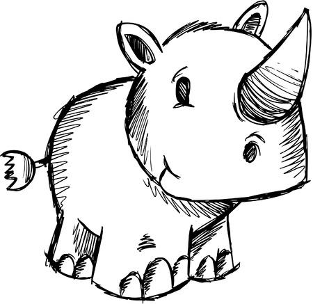 Garabatear incompletos de Safari Rhino  Ilustración de vector