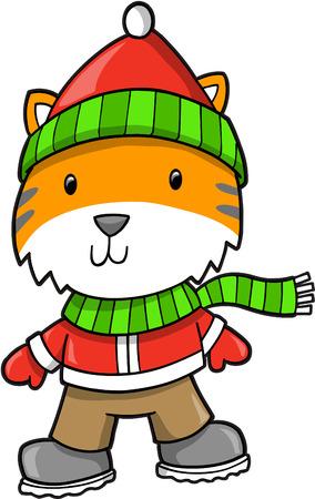 undomesticated cat: Holiday tiger  Illustration